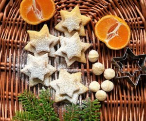 vánoční cukroví a ovoce