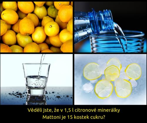 citron, voda, minerální voda