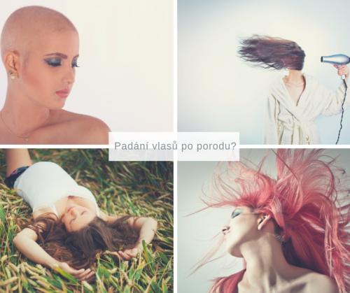 padání vlasů po porodu - žena bez vlasů, žena si fénuje vlasy, těhotná žena, žena s růžovými vlasy